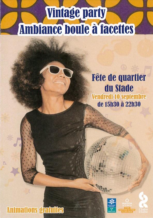 Vintage party et ambiance boule à facettes pour la fête de quartier du Stade ce vendredi 10 septembre