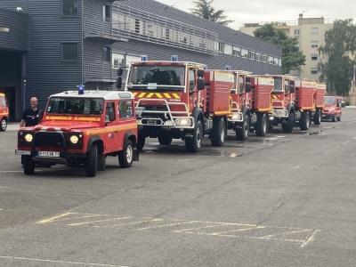 La colonne Bravo est partie ce matin du centre de secours de Mâcon.
