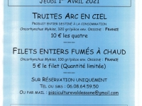 VENTE TRUITES FRAICHES + filets fumés  - 5 points de livraison sur le Chalonnais jeudi prochain  !
