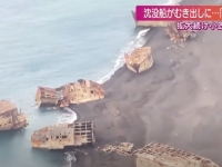Scène surréaliste au Japon... des navires coulés depuis la seconde guerre mondiale surgissent des eaux