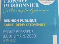 MUNICIPALES - Réunion publique ce jeudi soir pour Florence Plissonnier et Saint Rémy Citoyenne