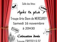 Week-end théâtre annoncé à la salle des fêtes de Mercurey