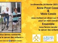 Concert connecté d'Anne Prost-Cossio et Vézio Cossio, au profit de la lutte contre les cancers pédiatriques.