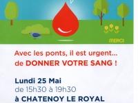 Collecte de sang à Chatenoy-le-Royal, lundi 25 mai 2020 en après-midi