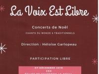 Dans la série «Les concerts de Noël celui de «la Voix est libre» les 7 et 8 décembre 2019
