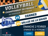 Dimanche 2 Février Volleyball N2M 11e J. Poule B : VBCC Vs AS CANNES