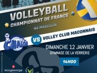 Dimanche 12 Janvier à 14h : Retour à la compétition pour le VBCC qui reçoit le VOLLEY CLUB MACONNAIS
