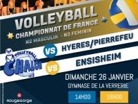 Ce dimanche 26 Janvier  : Deux matchs de volleyball au gymnase de la Verrerie à Chalon