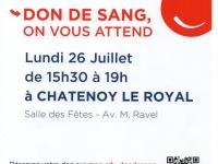 Châtenoy-le-Royal, collecte de sang Lundi 26 Juillet de 15h30 à 19h00