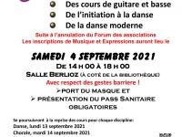 Inscriptions saison 2021/2022 : Musique et expressions sera salle Berlioz samedi 4 Septembre de 14h00 à 18h00.