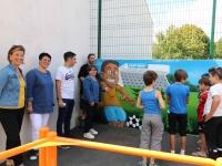 Le nouveau city stade rue Pierre Jacques de Saint Rémy s'embellit d'une fresque en graff.