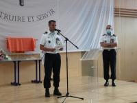 Réception dans le gymnase de la Caserne Carnot à l'occasion de la passation de commandement