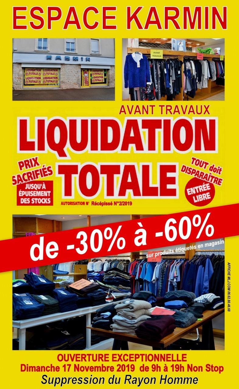Liquidation totale avant travaux* dans votre boutique « Espace Karmin» à MONTCHANIN. - Info-chalon.com