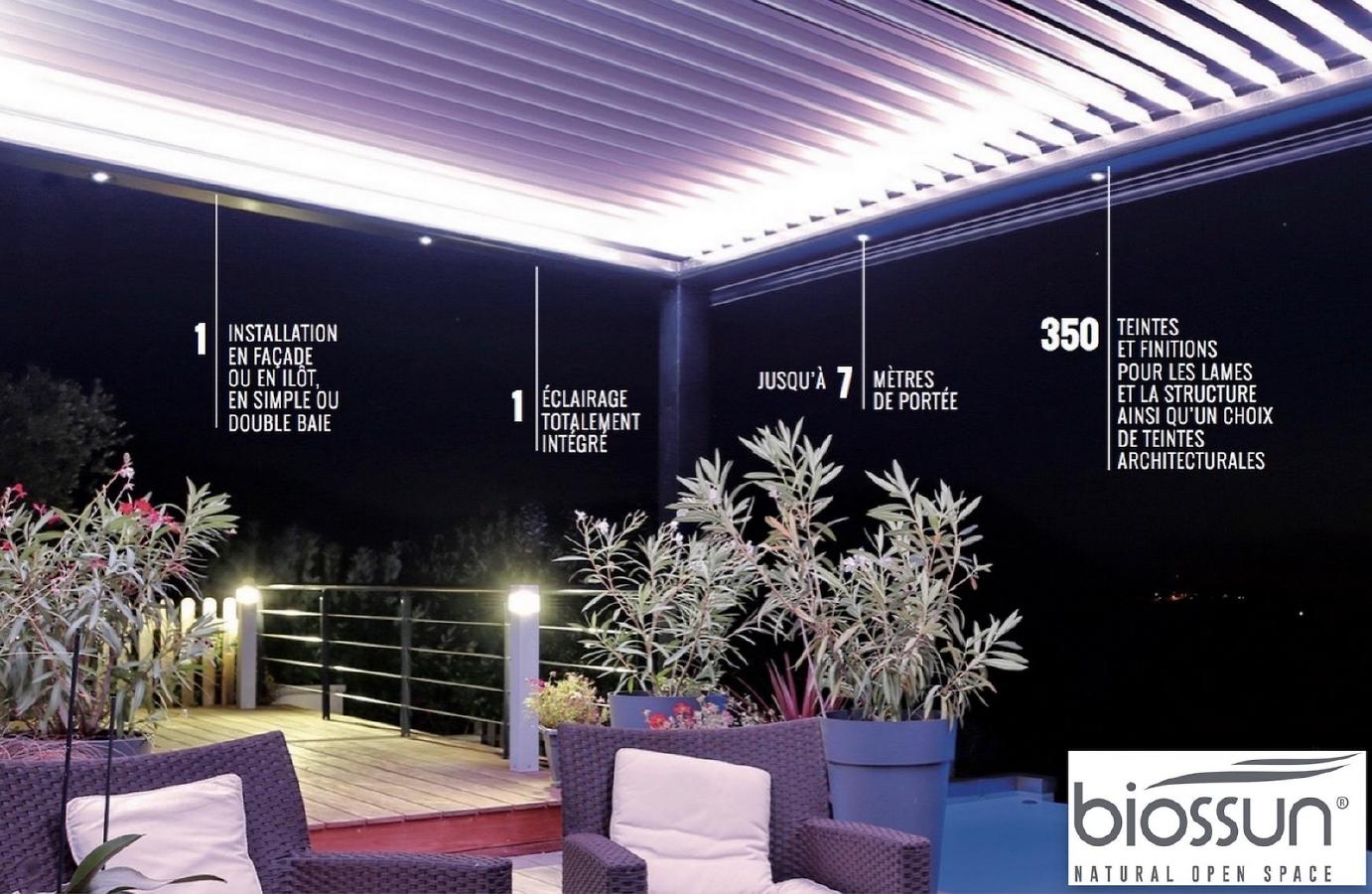 pergola bioclimatique biossun en exposition permanente. Black Bedroom Furniture Sets. Home Design Ideas