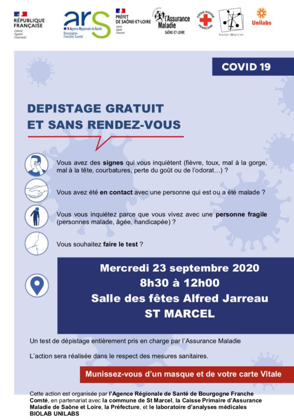 CORONAVIRUS - Séance de dépistage gratuite et sans rendez-vous ce mercredi à Saint-Marcel