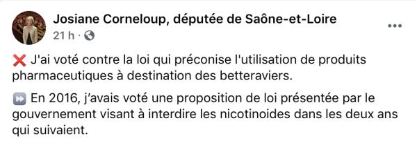 Quand une députée de Saône et Loire se félicite d'avoir voté une loi ... alors qu'elle n'était pas élue...