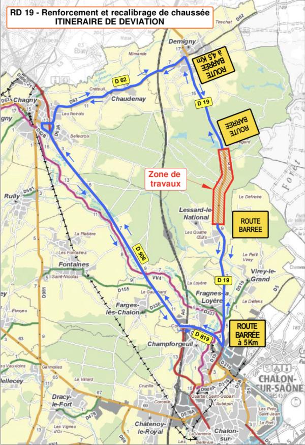 RD19 – Communes de Demigny et Lessard-le-National - Déviations et perturbations en perspective
