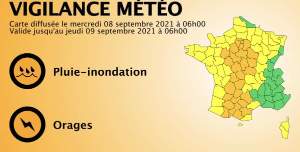 L'Ouest de la Saône et Loire en alerte orange aux orages