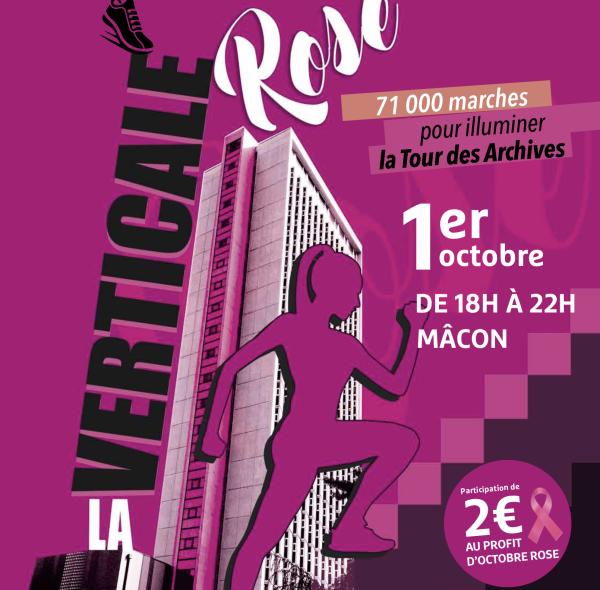 Vendredi 1er octobre 2021: la Verticale rose, une course d'escaliers dans la tour des Archives départementales à Mâcon au profit d'Octobre rose