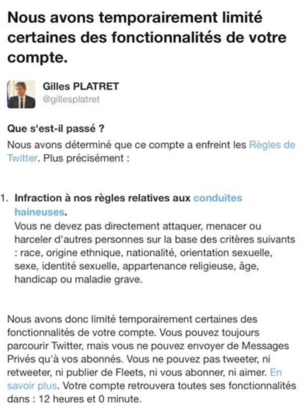 Gilles Platret suspendu de Twitter pendant 12 heures