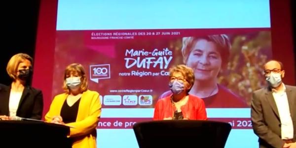 REGIONALES -  A Besançon,  Marie-Guite Dufay a dévoilé 20 de ses 100 propositions