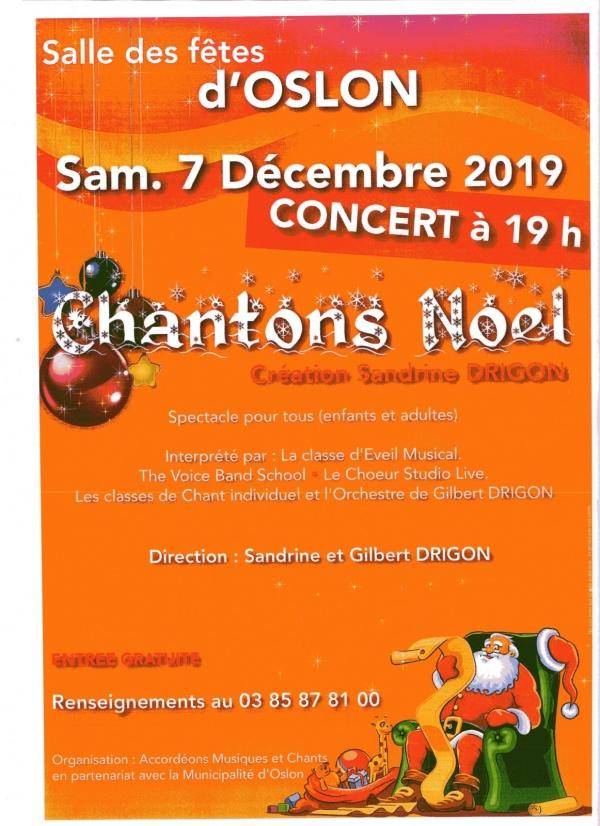 Oslon : 7 décembre 2019, concert de Noël d'Accordéons, Musiques et Chants