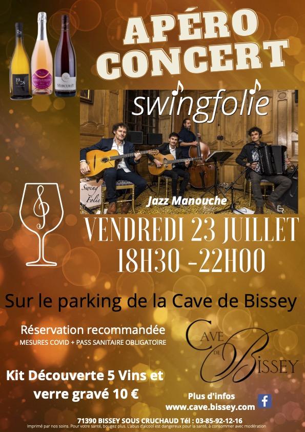 Vendredi 23 juillet, Apéro Concert avec le groupe SwingFolie à la Cave de Bissey. Réservation recommandée !