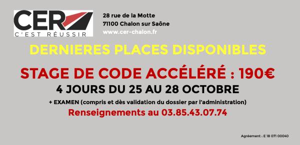 CER CHALON/SAÔNE : Dernières places disponibles pour le stage de code accéléré du 25 au 28 octobre !