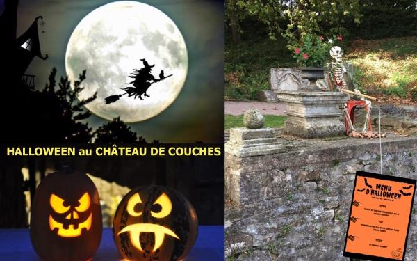 Venez fêter Halloween au Château de Couches ! Au programme : atelier citrouille tous les jours, visite guidée, soirées et menu d'Halloween.