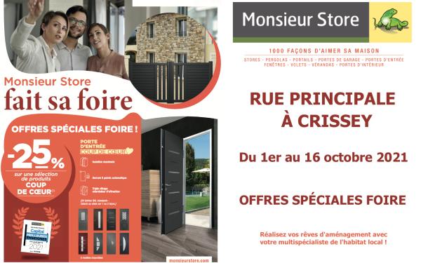 Monsieur Store Chalon/Saône fait sa FOIRE A DOMICILE ! Rendez-vous à l'agence pour profiter d'Offres Spéciales Foire !